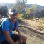 Why is Andy smiling?  Because he's done running in the Grand Canyon and waiting for me.