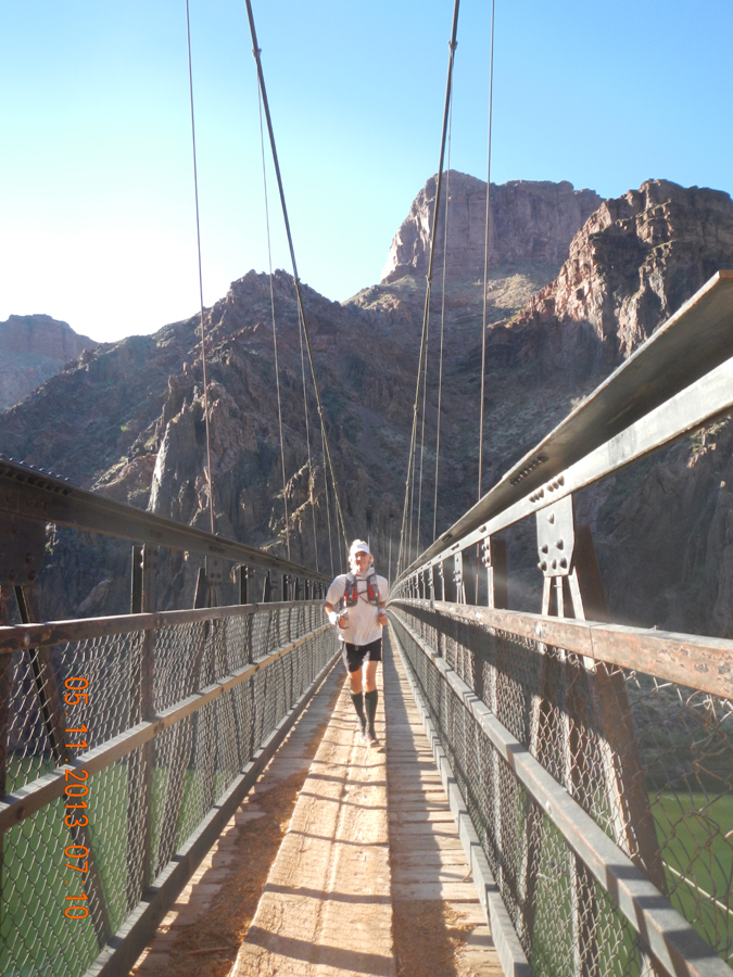 Me crossing the Silver Bridge across the Colorado River.