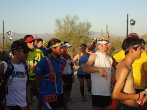 At the start.  106° and looking forward to running 40 miles.